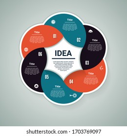 Vector circle infographic. Template for diagram, graph, presentation and chart. Business concept with 6 options, parts, steps or processes. Abstract background