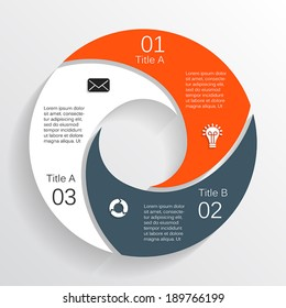 Vector circle infographic. Template for diagram, graph, presentation and chart. Business concept with three options, parts, steps or processes. Abstract background.