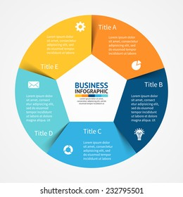 Vector circle infographic. Template for diagram, graph, presentation and chart. Business concept with 5 cyclic options, parts, steps or processes. Abstract background.