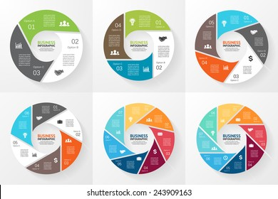 Vector circle infographic. Template for diagram, graph, presentation and chart. Business concept with 3, 4, 5, 6, 7, 8 options, parts, steps or processes. Abstract background.