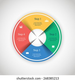 Vector circle infographic. Template for diagram, graph, presentation and chart. Business concept with 4 options, parts, steps or processes.