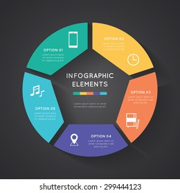 Vector circle infographic. Template for diagram, graph, presentation and chart.  Business concept with five options, parts, steps or processes. Abstract background.