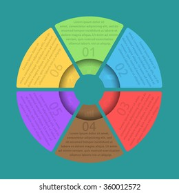 Vector circle infographic. Template for diagram, graph, presentation and chart. Business concept with six options, parts, steps or processes.