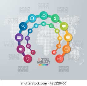 Vector circle infographic template for graphs, charts, diagrams. Business concept with 11 options, parts, steps, processes with world map on the background.