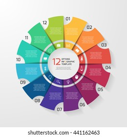 Vector circle infographic template for graphs, charts, diagrams. Pie chart concept with 12 options, parts, steps, processes.