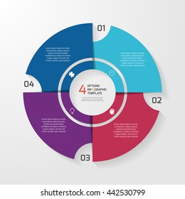 Vector circle infographic template for graphs, charts, diagrams. Pie chart concept with 4 options, parts, steps, processes.
