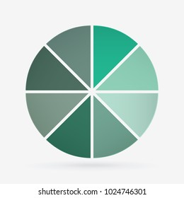 vector circle for infographic template, pie charts green with 8 steps