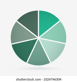 vector circle for infographic template, pie charts green with 7 steps