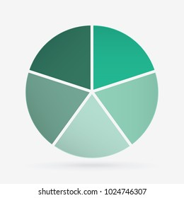 vector circle for infographic template, pie charts green with 5 steps