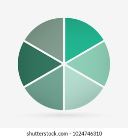 vector circle for infographic template, pie charts green with 6 steps