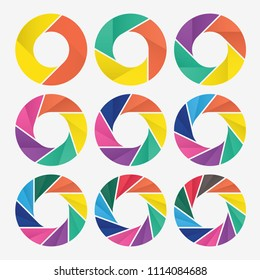 vector circle for infographic template, pie charts with 2, 3, 4, 5, 6, 7, 8, 9, 10 steps