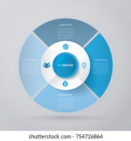 vector circle for infographic template, pie charts blue with 4 steps
