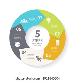 Vector circle infographic template for round diagram, graph, web design. Business concept with 5 steps, options or processes. Isolated on white background.