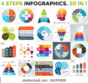 Vector circle infographics. Business diagrams, arrows graphs, startup presentation, chart. Infographic option with 4 part, step, process. Human brain education, idea light bulb, medicine plus, pyramid