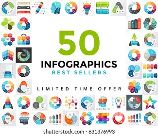 Vector circle infographics set. 50 best sellers. Business cycle diagrams, arrows graphs, startup presentations and idea charts. Infographic geometry template 3, 4, 5, 6, 7, 8 steps, parts, options.