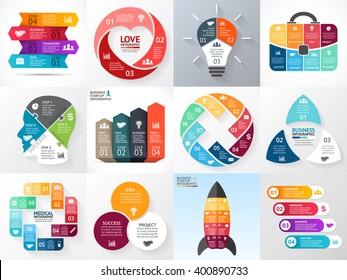Vector circle infographics set. Business diagram, arrows graph, startup logo presentation, idea chart. Infographic option, 3, 4, 5, 6, 8 part, step, process. Heart, bulb, head, rocket, medical plus.