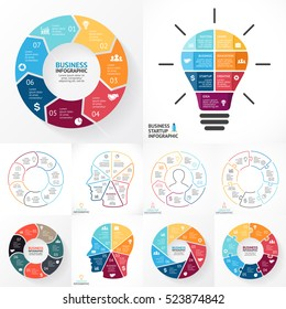 Vector circle infographics set. Business diagrams, arrows graphs, linear presentations, idea cycle charts. Data options, parts, 7 steps, processes. Light bulb, human head, puzzle.
