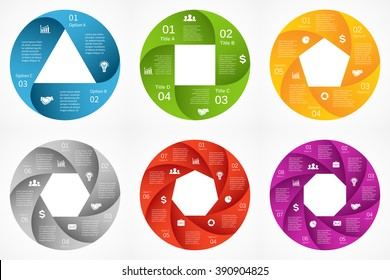 Vector circle infographics set. Template for diagram, graph, presentation and chart. Business info graphic concept with 3, 4, 5, 6, 7, 8 options, parts, steps or processes.Color geometric shapes.