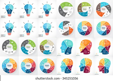 Vector circle infographics. Template for cycle diagram, graph, presentation and round puzzle chart. Business concept with 3, 4, 5, 6, 7, 8 options, parts, steps. Human head, light bulb. Brainstorming.