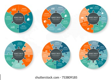 Vector circle infographics template for round chart, diagram, web design, presentation, workflow layout. Business concept with 3, 4, 5, 6, 7, 8 options, parts, steps or processes