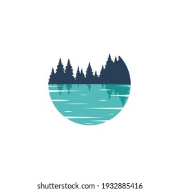 Vector circle Lake logo template. Illustration of a blue, azure lake with the silhouette of a forest. Reflection of the forest in the water.