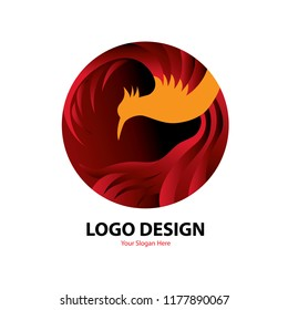 Vector circle logo design red phoenix