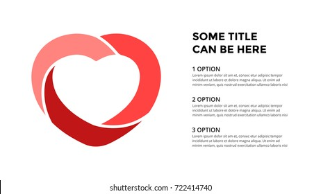 Vector circle love heart infographic, cycle diagram, geometric graph, presentation chart. Business infographics concept with 3 options, parts, steps, processes. 16x9 slide template.