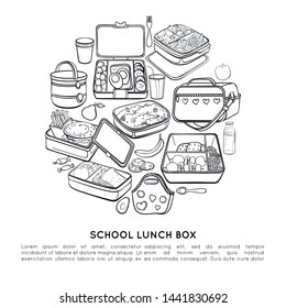 Vector circle made from thermos, handbag, a cup of tea, thermo bag, container with food, fork, spoon, school lunch box, apple, pear, sweets, bottle juice. Line poster. Sketch objects and food.