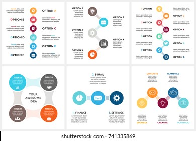 Vector circle metaball timeline infographic, cycle diagram, triangle graph, presentation chart. Business infographics concept with 3, 4, 5, 6, 8 options, parts, steps, processes.