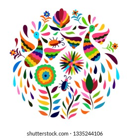 Vector Circle Mexican Otomi Style Bright Pattern