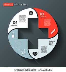 Vector circle plus sign infographic. Template for diagram, graph, presentation and chart. Medical healthcare concept with four options, parts, steps or processes. Abstract background.
