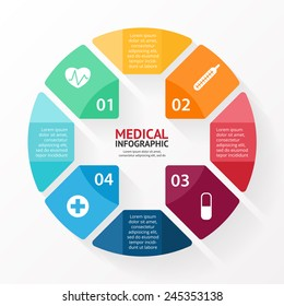 Vector circle plus sign infographic. Template for diagram, graph, presentation and chart. Medical healthcare concept with 4 options, parts, steps or processes. Health background.