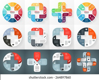 Vector circle plus sign infographic. Template for diagram, graph, presentation and chart. Medical healthcare concept with 4 options, parts, steps or processes. Abstract background.