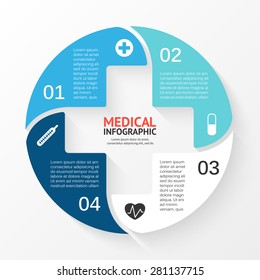 Vector circle plus sign infographic. Template for diagram, graph, presentation and chart. Medical healthcare concept with 4 options, parts, steps or processes. Abstract background. Data visualization.