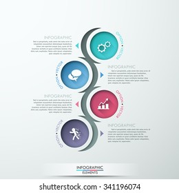 Vector circle process template infographic. Can be used for diagram, graph, presentation and round chart. Business concept with 4 options, parts, steps or processes