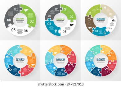 Vector circle puzzle infographic. Template for cycle diagram, graph, presentation and round chart. Business concept with 3, 4, 5, 6, 7, 8 options, parts, steps or processes. Abstract background.