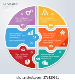 Vector circle puzzle pieces template for infographic. Business concept with 6 options. Eps 10. Can be used for diagram, banner, number options, workflow layout, step up options, web design etc.