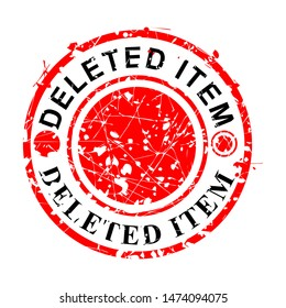 Vector, Circle Red Grunge Rubber Stamp, Deleted Item, Isolated on white