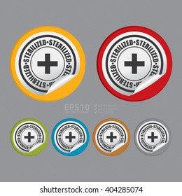 Vector : Circle Sterilized Product Label, Campaign Promotion Infographics Flat Icon, Peeling Sticker, Sign