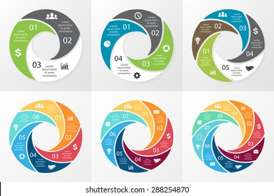 Vector circle swirl infographic. Template for cycle diagram, graph, presentation and round chart. Business concept with 3, 4, 5, 6, 7, 8 options, parts, steps or processes. Digital info graphic.