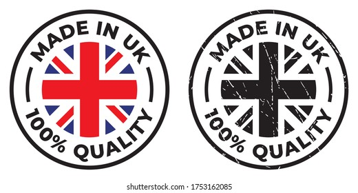 Vector circle symbol. Text Made in UK with flag. Stamp. Isolated on white background.