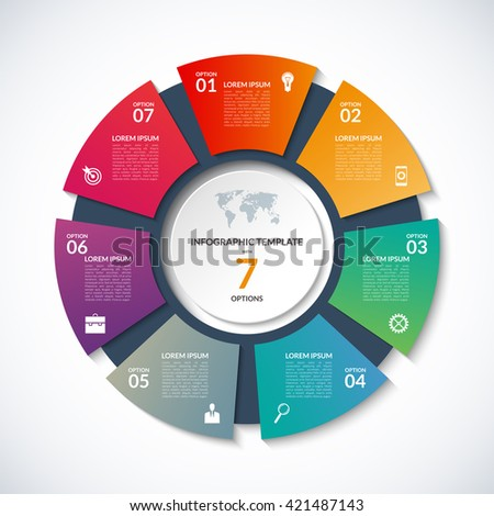 Vector circle template infographics business concept stock vector vector circle template for infographics business concept with 7 options steps parts accmission Images