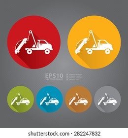 Vector : Circle Tow Car Service Flat Long Shadow Style Icon, Label, Sticker, Sign or Banner