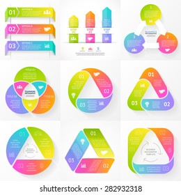 Vector circle triangle arrows infographic. Template for cycle diagram, graph, presentation and round chart. Business concept with 3 options, parts, steps or processes. Abstract background