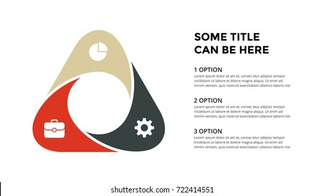 Vector circle triangle infographic, cycle diagram, geometric graph, presentation chart. Business concept infographics with 3 options, parts, steps, processes. 16x9 slide template.