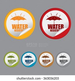 Vector : Circle Water Resistant Product Label, Infographics Flat Icon, Peeling Sticker, Sign