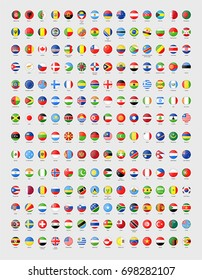Vector circle world flags with glass effect