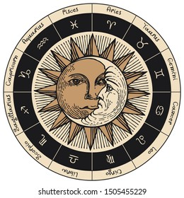 Vector circle of the Zodiac signs in retro style with icons, names, decorated with hand-drawn Sun and Moon in black and beige colors.