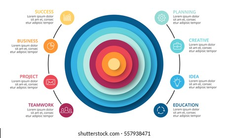 Vector circles abstract 3D pyramid infographic, cycle diagram, graph, presentation chart. Business infographics with 8 options, parts, step, process. 16x9 slide. White background. Simple modern design
