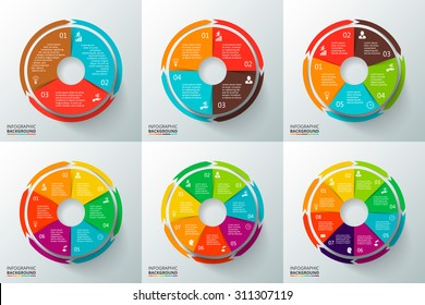 Vector circles with arrows for infographic. Template for cycle diagram, graph, presentation and round chart. Business concept with 3, 4, 5, 6, 7 and 8 options, parts, steps or processes.